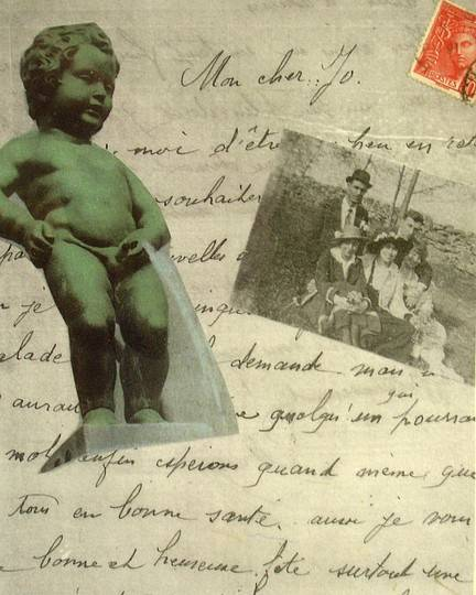 French Letters Statue Stamps Collage Poster featuring the mixed media French Memoirs by Susan Grissom