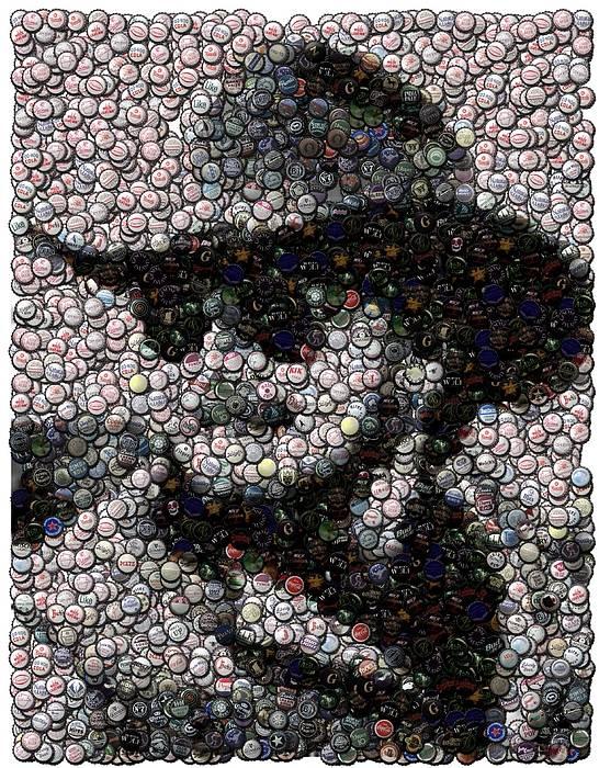 Country Music Poster featuring the digital art Hank Williams Jr. Bottle Cap Mosaic by Paul Van Scott