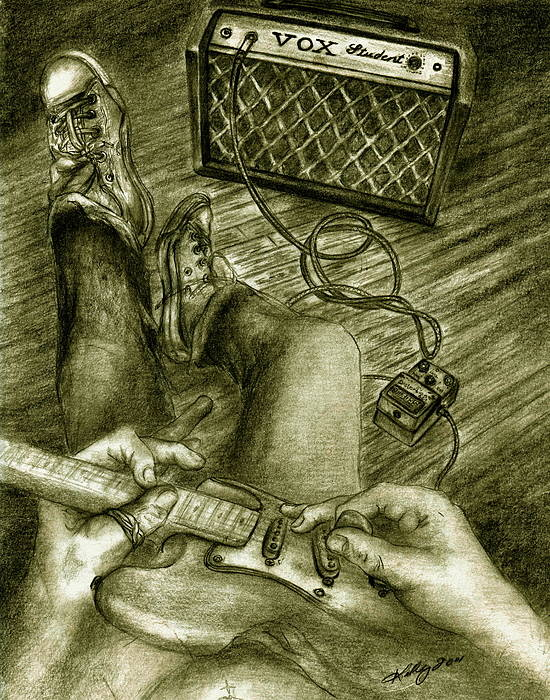 Guitar Player Portrait Poster featuring the drawing Just Playin Around by Kathleen Kelly Thompson