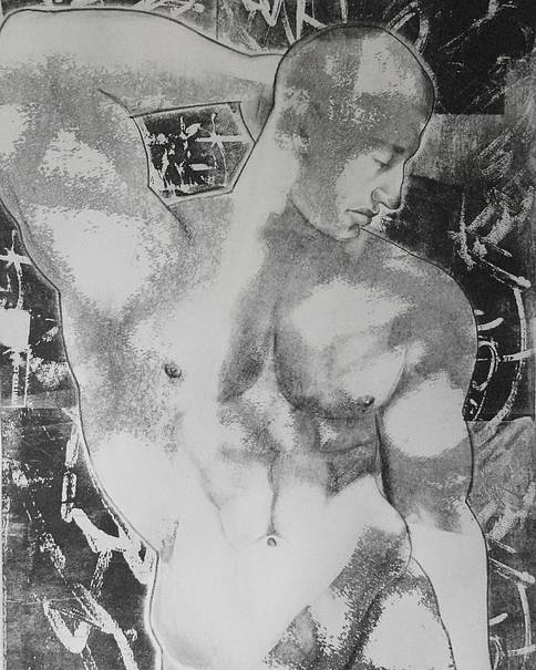 Nude Poster featuring the mixed media Nude 1 by Carmine Santaniello