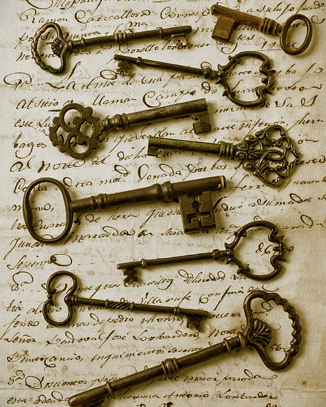 Unlock Poster featuring the photograph Old Keys On Letter by Garry Gay