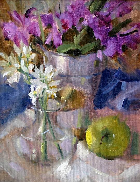 Still Life Floral Poster featuring the painting Peggy's Orchids by Judy Crowe