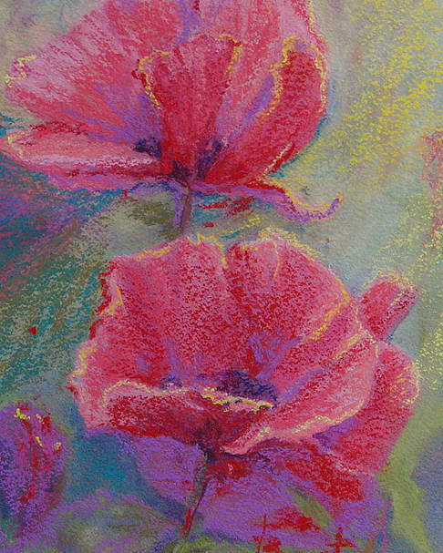 Poppies Poster featuring the pastel Poppy Duo by Bente Hansen