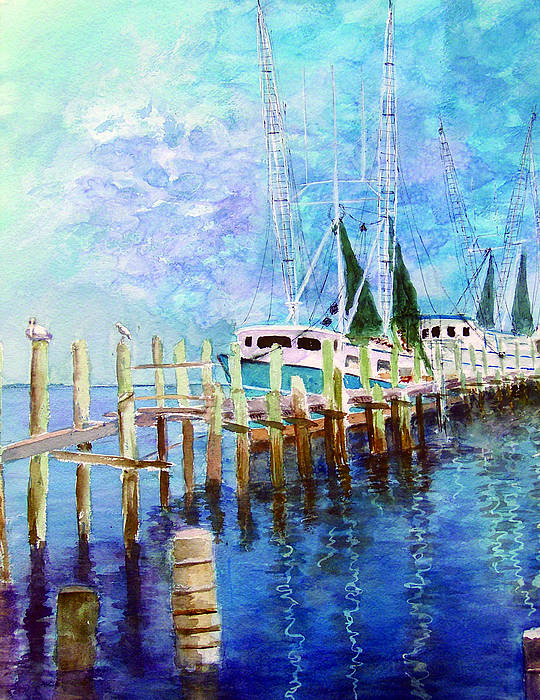 Shrimpboat Poster featuring the painting Shrimpboats by Carol Sprovtsoff