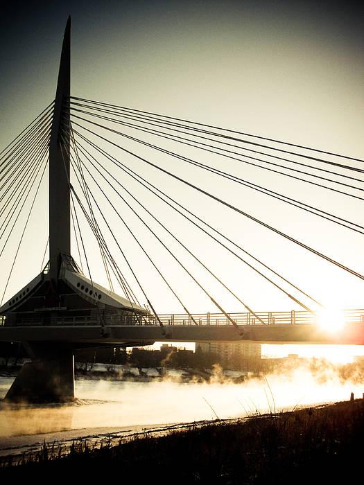 Winnipeg Poster featuring the photograph St. Boniface Bridge At Winter Sunrise by Michael Knight