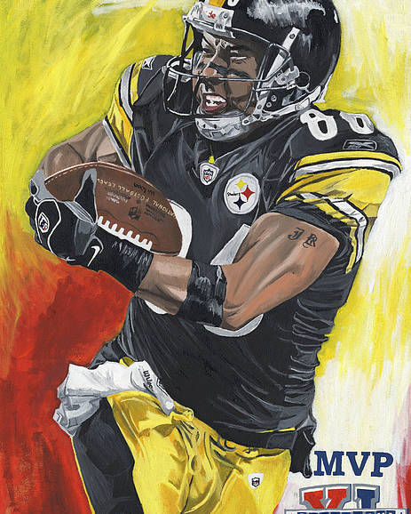 Hines Ward Super Bowl Mvp Pittsburgh Steelers David Courson Sports Art Poster featuring the painting Super Bowl Mvp Hines Ward by David Courson