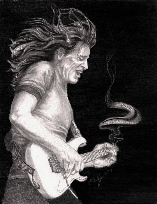 Steve Vai Poster featuring the drawing The Audience Is Listening by Kathleen Kelly Thompson