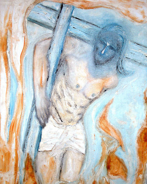 Cross Poster featuring the painting The Cross by Narayanan Ramachandran