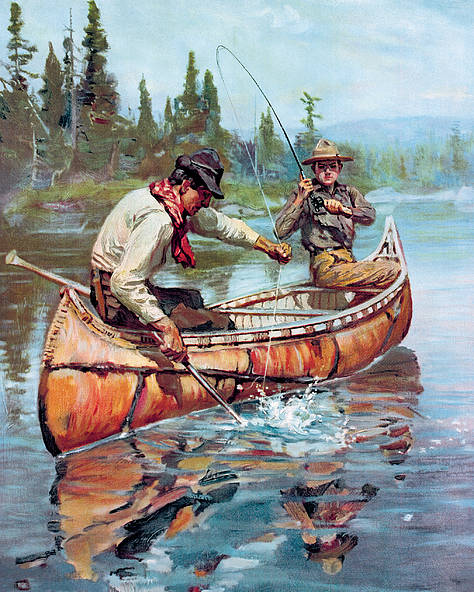 Fishing Poster featuring the painting Two Fishermen In Canoe by Phillip R Goodwin