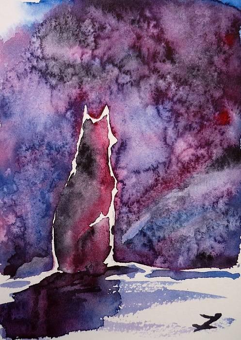 Dog Poster featuring the painting Waiting by Zaira Dzhaubaeva