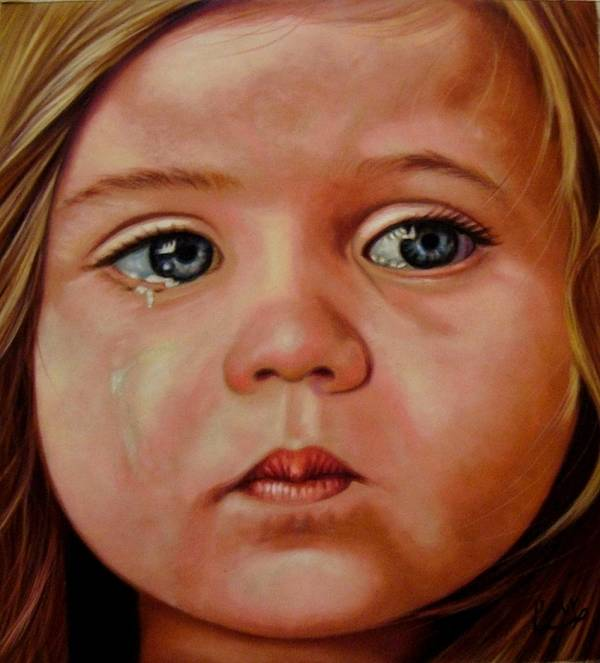 Sad Poster featuring the pastel Innocence by Saba Aghajan