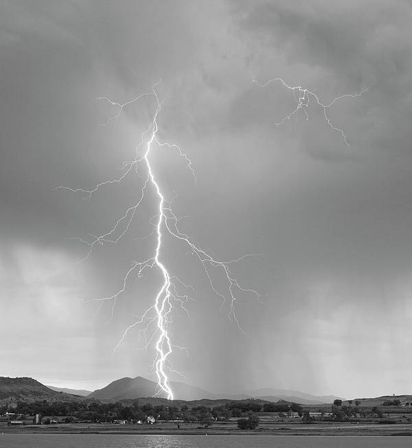 July Poster featuring the photograph Lightning Strike Colorado Rocky Mountain Foothills Bw by James BO Insogna