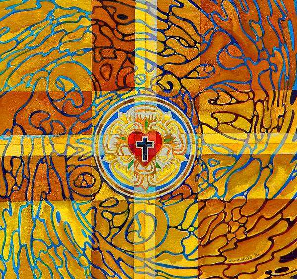 Christian Poster featuring the painting Psychedelic Rose by Mark Jennings
