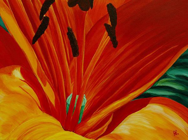 Macro Flower Art Print featuring the painting Lilly Vertigo by Julie Pflanzer