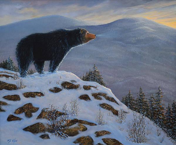 Wildlife Art Print featuring the painting Last Look Black Bear by Frank Wilson