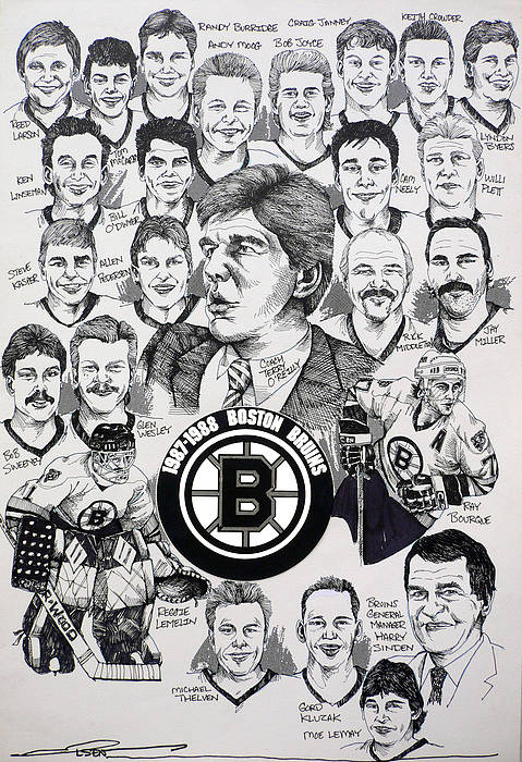 Championship Poster Art Print featuring the drawing 1988 Boston Bruins Newspaper Poster by Dave Olsen