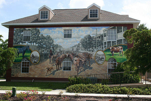Mural Art Print featuring the painting Cattle Drive Down Marion Avenue 1903 by Michael Vires