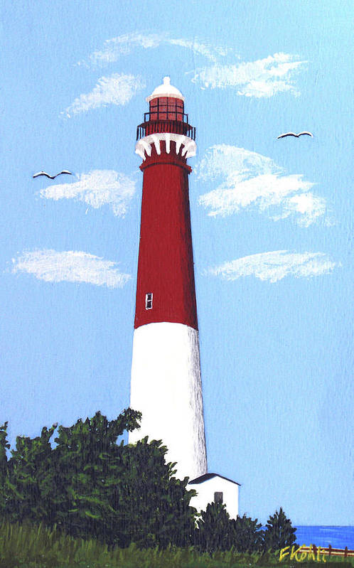 Lighthouse Art Print featuring the painting Barnegat Lighthouse Painting by Frederic Kohli