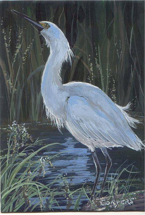 Egret Art Print featuring the painting Egret by Peggy Conyers