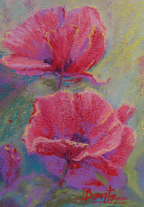 Poppies Art Print featuring the pastel Poppy Duo by Bente Hansen