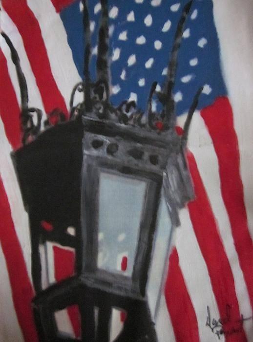 Boston Art Print featuring the painting Boston Lightpost by David Poyant