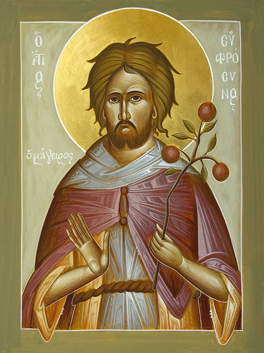 St Euphrosynos The Cook Art Print featuring the painting St Euphrosynos The Cook by Julia Bridget Hayes