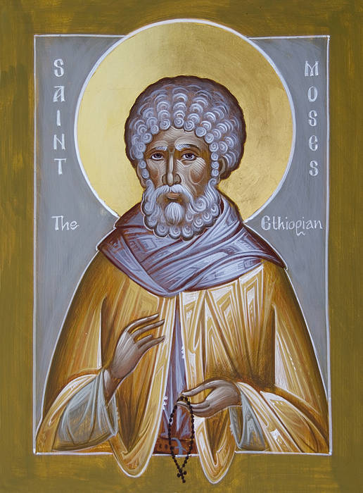 St Moses The Ethiopian Art Print featuring the painting St Moses The Ethiopian by Julia Bridget Hayes