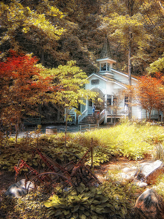 Autumn Art Print featuring the photograph Church In The Woods by Gina Cormier