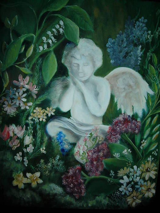 Gardens Art Print featuring the painting Concrete Angel by Vivian Mosley