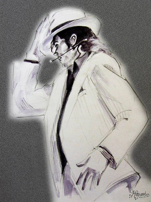 Michael Jackson Art Print featuring the drawing Michael Jackson - Smooth Criminal In Tii by Hitomi Osanai