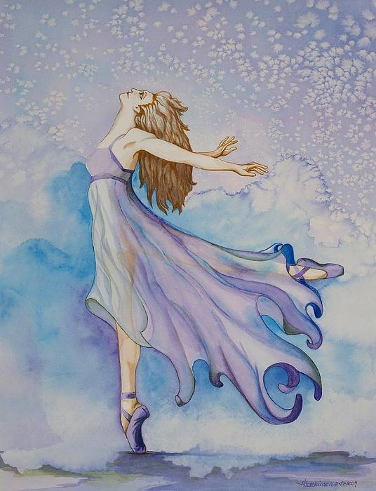 Ballet Dancer Art Print featuring the painting Ballerina Performs by Joyce Hutchinson