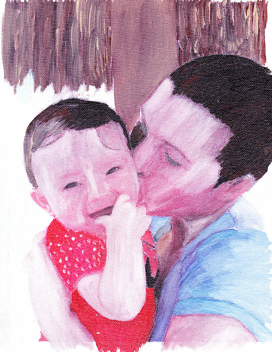 Family. Portrait Art Print featuring the painting The Kiss by David Poyant
