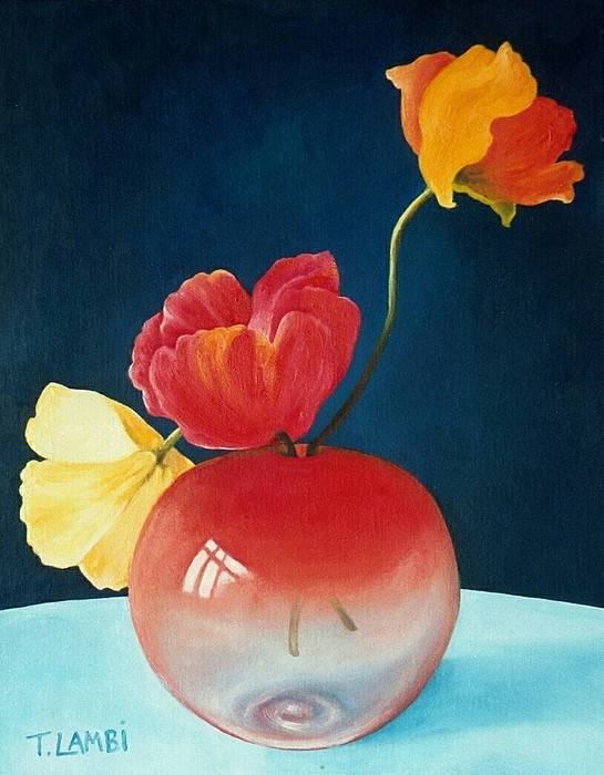 Still Life Art Print featuring the painting Poppies by Trisha Lambi