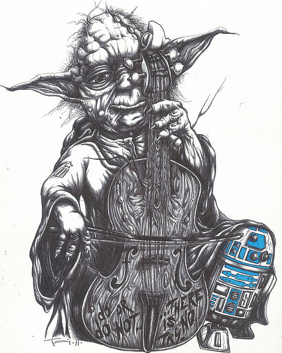 Yoda Print featuring the drawing Yoda Soothes Baby R2 With The Charm Of His Homegrown Cello by Tai Taeoalii