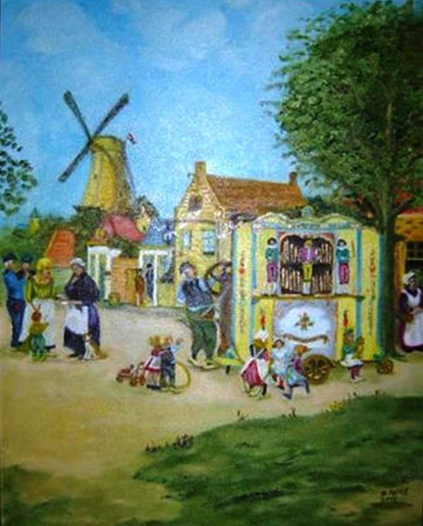 Street Scene Art Print featuring the painting The Music Man by Gloria M Apfel