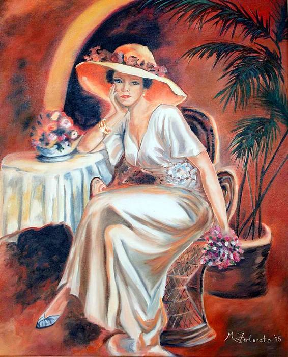 Woman Art Print featuring the painting Patience In Beauty by Margaret Fortunato