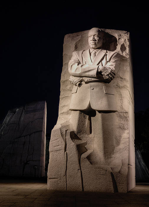 Mlk Martin Luther King Jr Junior Jr. Memorial Washington Dc Out Of The Moutain Of Dispair A Stone Of Hope Black History Month Historic Patriotic African American Hero Heroes. Art Print featuring the photograph A Stone Of Hope by JC Findley
