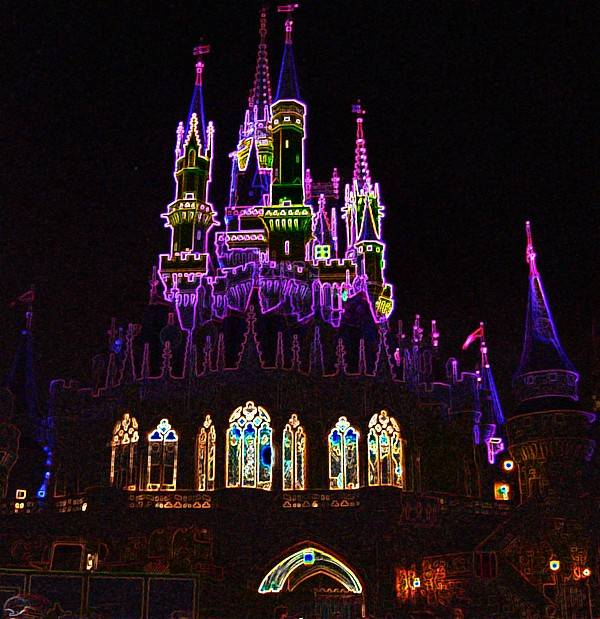 Castle Art Print featuring the photograph Neon Castle by Lindsay Clark
