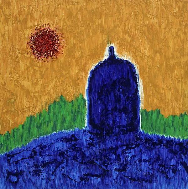 Spiritual Acrylic Art Print featuring the painting Unititled. Stupa by Losang Monlam