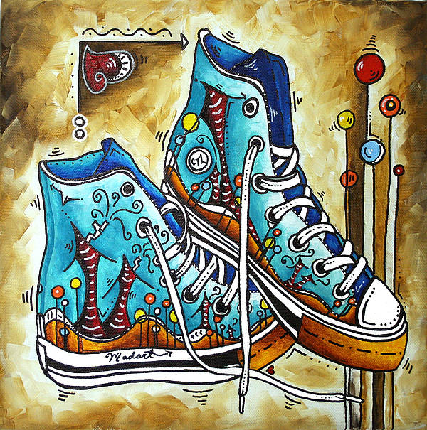 Original Art Print featuring the painting Whimsical Shoes By Madart by Megan Duncanson