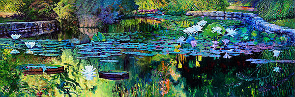 Water Lilies Art Print featuring the painting The Abstraction Of Beauty One And Two by John Lautermilch