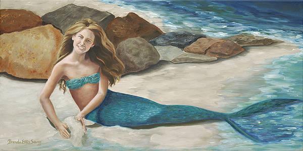 Mermaids Art Print featuring the painting Krissy by Brenda Ellis Sauro