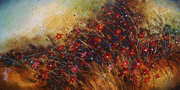 Red Flowers Art Print featuring the painting Wild by Michael Lang