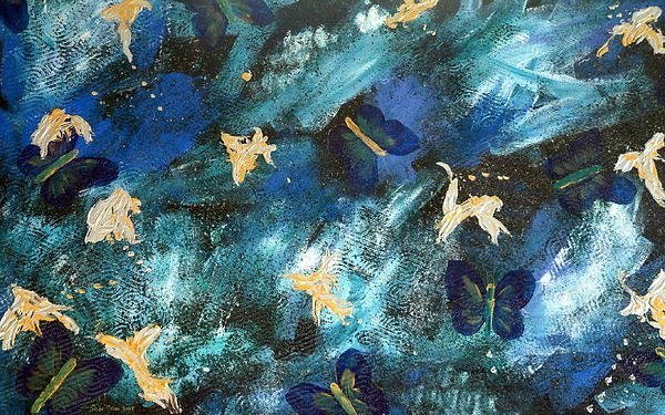 Heavily Textured Art Print featuring the painting Butterfly Blue by Sher Green