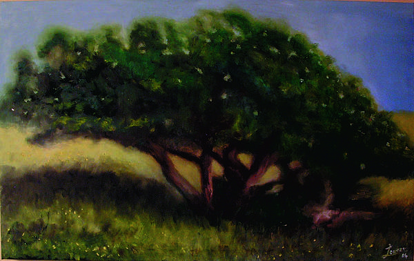 Green Art Print featuring the painting Tree by John Busuttil Leaver