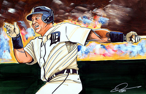 Miguel Cabrera Art Print featuring the drawing Miguel Cabrera by Dave Olsen