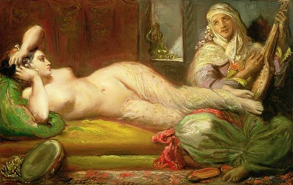 Reclining Print featuring the painting Reclining Odalisque by Theodore Chasseriau