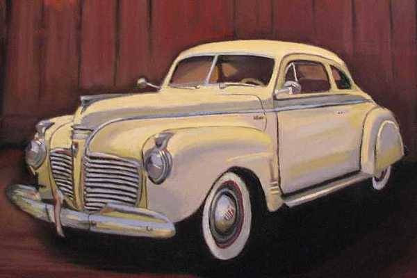 This Is The Beautiful Old Car Aunt Clara Keeps In Her Barn Art Print featuring the painting 1941 Plymouth - Aunt Clara by Mary Hollinger