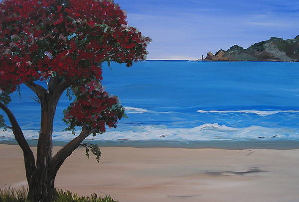 Landscape Seascape Pohutukawa Tree Art Print featuring the painting A Peaceful Place Revisited by Sher Green
