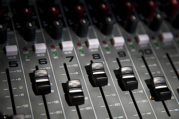 Horizontal Art Print featuring the photograph A Sound Mixing Board, Close-up, Full Frame by Tobias Titz